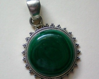 Malachite & Sterling Silver Pendant - 2566