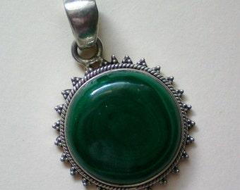 Malachite & Sterling Silver Pendant - 2566