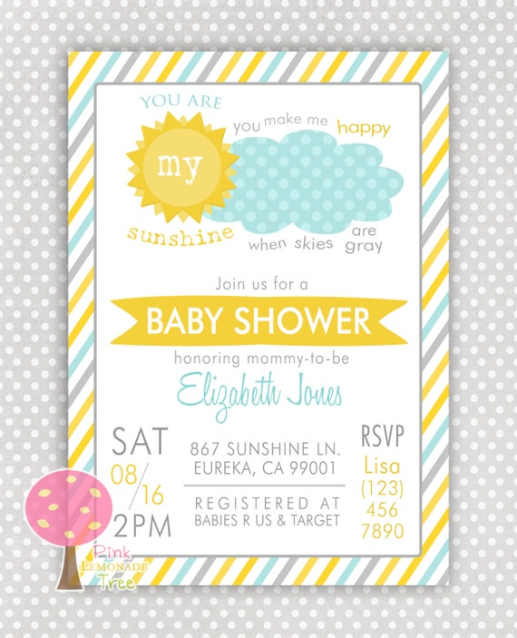 you are my sunshine baby shower invitation gender neutral customized