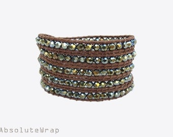 Metallic green crystal wrap bracelet on soft polyester cord, brown