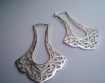 Sterling Silver Filigree Moroccan Style Hinged Hoops, Fligree Hoops, Unique Hoops, Large Hoops