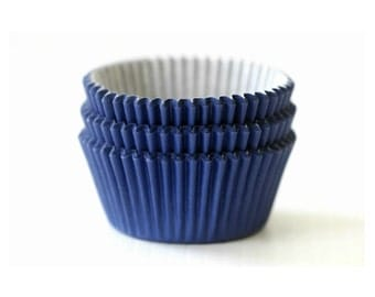 Mini Navy Blue Solid Color Cupcake Liners