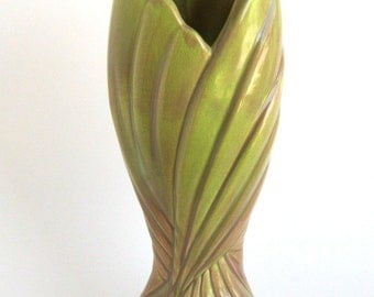 West Coast Art Nouveau Twist Vase Blended Green