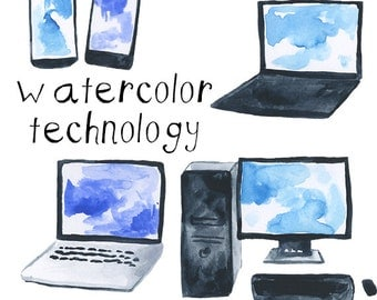 Watercolor Computers and Technology Cell Phone clip art pack Smartphones Laptops PCs clipart Tech Geeky Nerdy illustrations