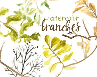 Watercolor Painted Branch Clip Art Tree Branch Commercial use digital scrapbooking branch clip art branches instant