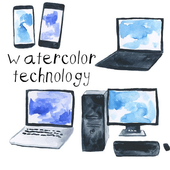 Computers Technology: Watercolor Computers And Technology Cell Phone Clip Art Pack