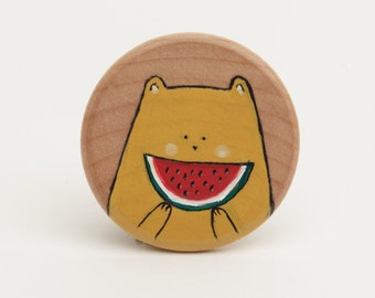 Smile watermelon brooch - Illustrated wooden brooch
