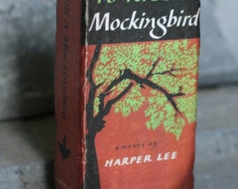 To Kill a Mockingbird - Bookend Door Stop Shelf Decor Repurposed Brick to look like a classic American novel