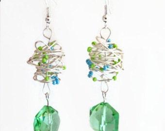 CLEARANCE Green crystal dangle earrings, handmade in the UK