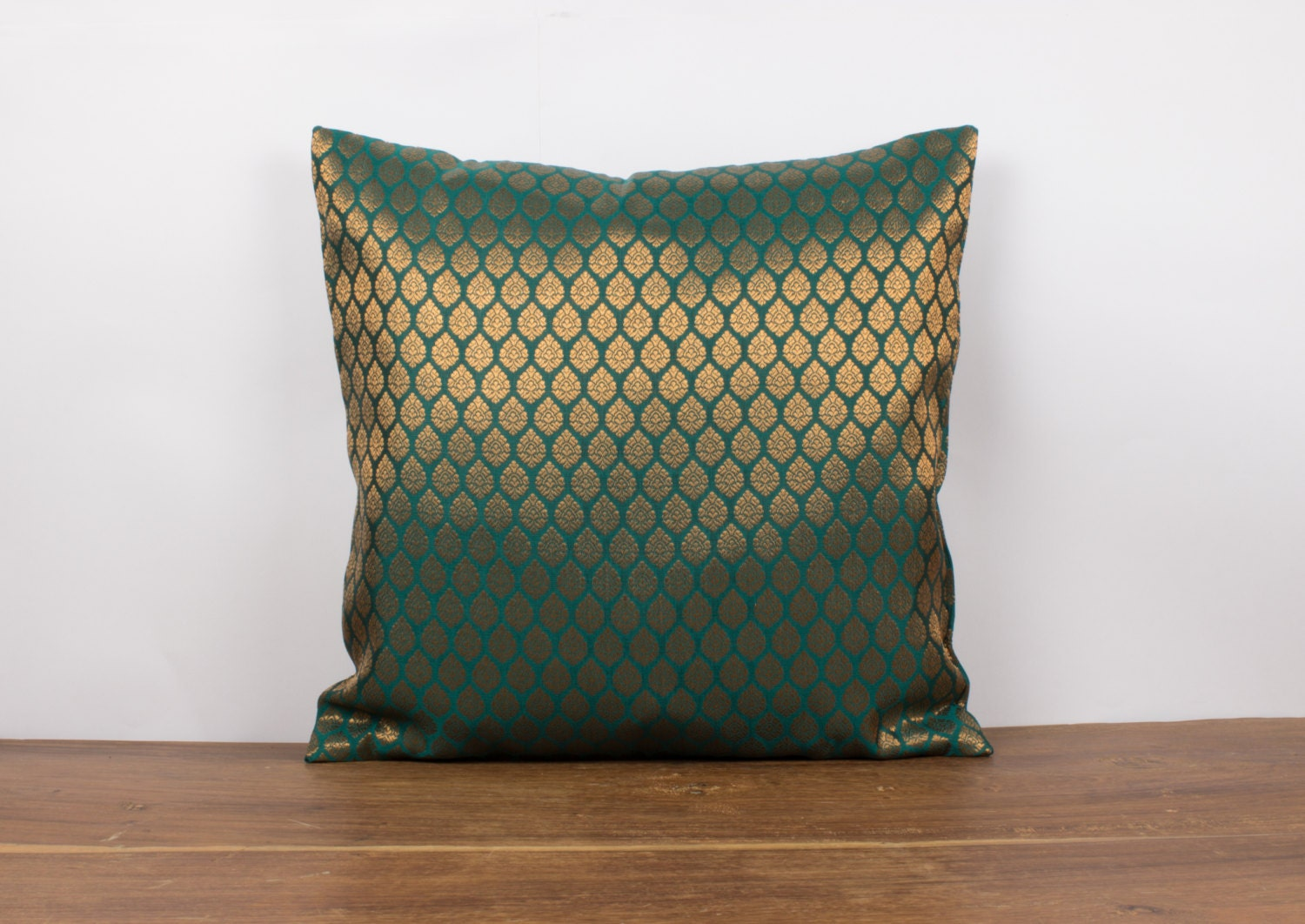 Emerald Green Silk Pillow Decorative throw pillow by Fabricasia