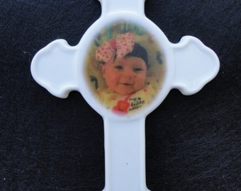 Cross Custom Ornament *Your Photo* Christmas, Holiday, Baby Pet, Memorial, Religious