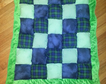 Puff Quilt and Play Mat - Kelly Green & Navy