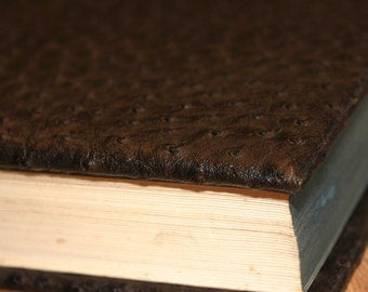 EMU Faux Leather Book Cover Custom Fitted to The Dimensions of Your Favorite Book for an Exact Fit with Rich Brown Nubby Texture