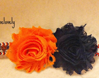 Chicago Bears Baby Girl Shabby Flower Elastic Headband