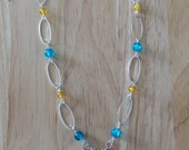 Adventure Time Necklace with Silver Sword, Regal Key, Princess Crown and Blue and Yellow Beads