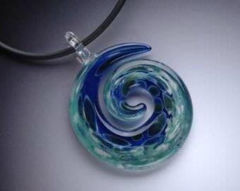 Blown Glass pendant - Blue-green spiral