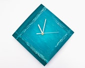 Abstract Wall clock Turquoise minimal, blue unique clock, modern designer handmade,  office decor, hand painted, art design rich texture