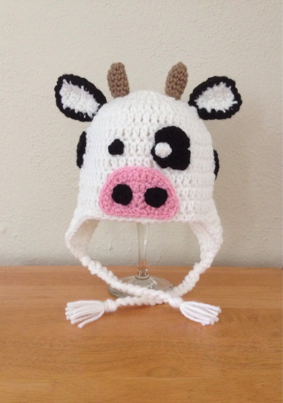 Crochet Cow Farm Animal Earflap Hat For Newborn Baby Toddler