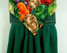 Autumn Hanging Hand Towel, Fall Hanging Kitchen Towel, Harvest Kitchen Hanging Towel, Fall Vegetable Kitchen Towel, Garden Kitchen Decor