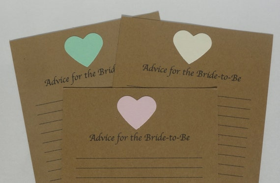 12 Advice Cards for the Bride-to-Be - Blank Advice Cards - Wedding - Wedding Shower - Wish Card - Wedding Advice Card