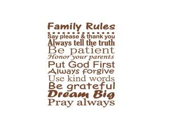 Christian Family Rules, Vinyl Wall Art, Family Room Decor, Family Subway Art, Personalized Family Decal,Custom Family Sign, Christian Values