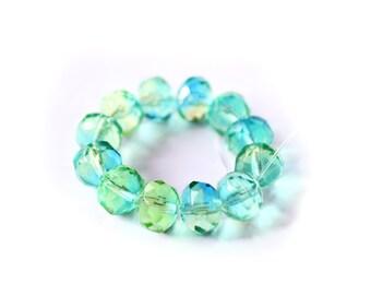 SEA BOUQUET Facated Czech Glass Beads 6x8mm