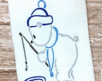 Polar Bear Fishing Outline Satin Stitch Design