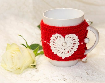 Tea or coffee mug and cup cozy with white heart