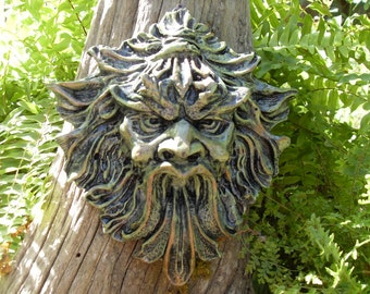 Gargoyle Plaque, Gargoyle Wall Hanging, Garden Gargoyle, Greenman Plaque,Gothic Decor, Gothic Garden Sculpture, Cement