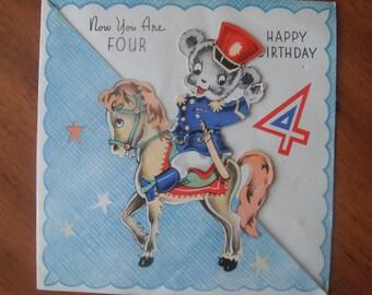 Vintage 1940s Happy Birthday Four Year Old Card - Vintage Teddy Bear Pony Fourth Birthday Greeting Card - Cute Vintage 4 Years Birthday Card