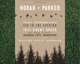 Rustic Forest Rehearsal Dinner Invitation // DIY Printable // Typography Invitation, Evergreen Invitation
