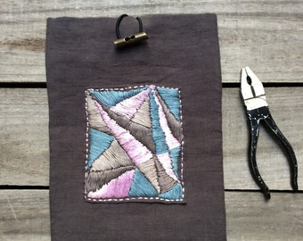 Lavender, blue & beige hand embroidered iPad sleeve case, geometric pattern Tablet and E- Reader Cases