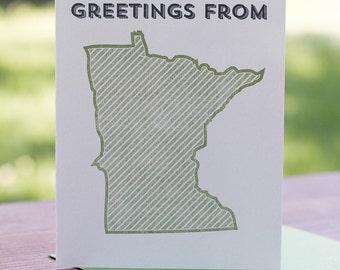 Greetings from Minnesota. Letterpress Greeting Card