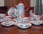 REDUCED - Antique porcelain, Antique Chocolate set, Geisha Girl Chocolate Pot-6 cups w/saucers ~ Excellent condition-14 piece  set.