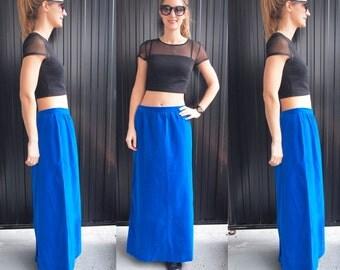 Azure Blue Velvet Maxi Skirt