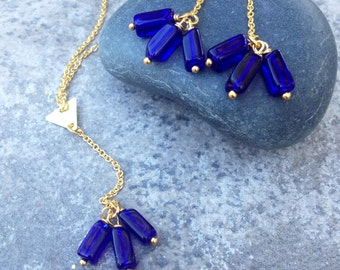 DROPS in the RIVER Necklace //  Petite Cobalt Blue Czech Glass Crystal Beads and Triangle Connector Necklace // Boho Hippie Hipster