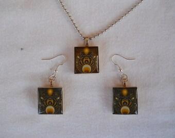 Scrabble Tile Earrings, Abstract Earrings, Scrabble Necklace, Wire Earrings, Scrabble, Jewelry, Abstract Scrabble Necklace, Handmade, Gift