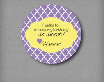 Custom Kids Thank You Birthday Sticker Personalized Favor Goodie Bag Labels for Treats