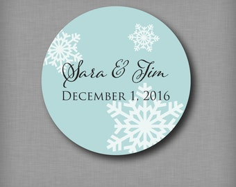 Winter Wedding Favor Sticker Snowflake Labels Personalized Round Favor Stickers