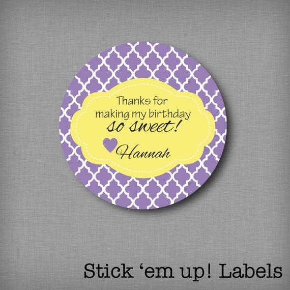 custom kids thank you birthday sticker personalized favor goodie bag