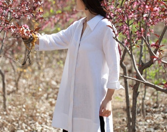 Women shirt/Tunic - Shirt 3/4 sleeves - Summer shirt - Linen shirt - shirt white - Made to order