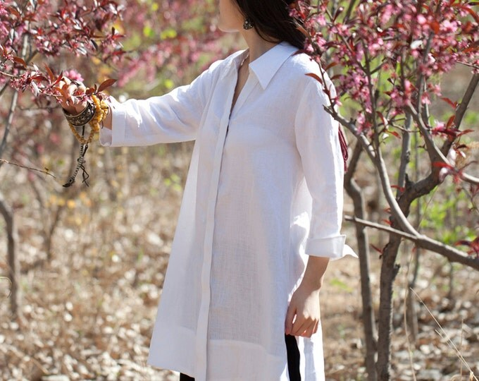 Women shirt/Tunic - Shirt 3/4 sleeves - Summer shirt - Linen shirt - shirt white - Made to order
