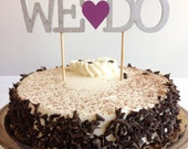 We Do - Modern Wedding Cake Topper With Heart Accent