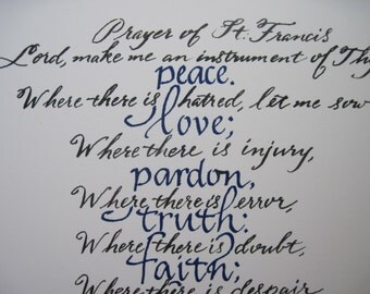 Religious Gift, Christian Wall Art, Prayer of St. Francis, Lord, Make Me an Instrument, 9 x 12 inch PRINT  Hand written in calligraphy