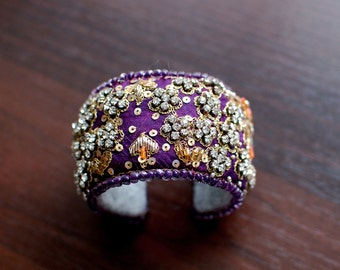 Up-cycled embroidery bohemian gypsy purple cuff