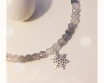 Bracelet with agate gray snowflake silver or gold plated