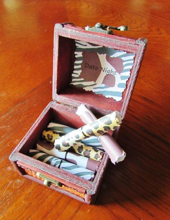 Date Night Scroll Box! Wood Box of 12 Fun Dates for Boyfriend, Husband, Girlfriend, Wife - Perfect Anniversary, Birthday or Christmas Gift!