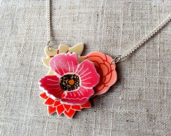 Flower necklace - Poppy necklace - Floral necklace - Flower pendant - Mother's Day - Gift for her - Pink necklace
