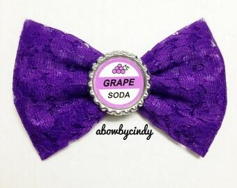 Disney Pixars Up / Grape Soda Badge / Russell purple lace bottle cap hair bow clip
