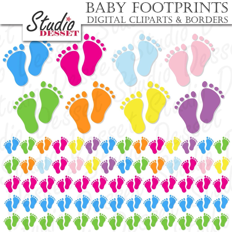 Baby Shower Cliparts & Borders Footprints Baby Feet Digital